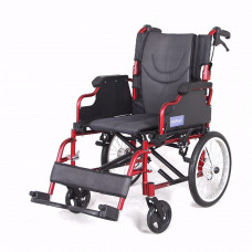 Deluxe Aluminum wheelchair with foldable backrest(Red)