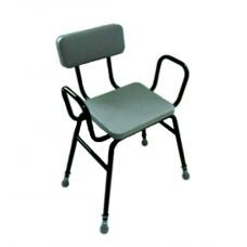 Malling Perching stool with arms & padded back - Black