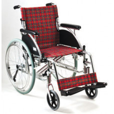 Deluxe Aluminum Wheelchair (Red checker pattern)
