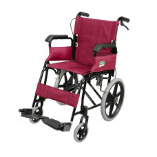 Foldable Attendant Propelled Transport Wheelchair (Flip-up Armrests) (Red)