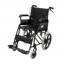 Foldable Attendant Propelled Transport Wheelchair with Flip up armrests (Black)
