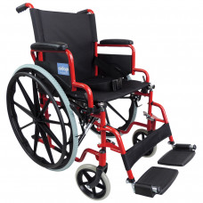 Aidapt Self Propelled Steel Transit Chair (Red) - On Request