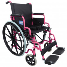 Aidapt Self Propelled Steel Transit Chair (Pink) - On Request