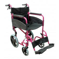 Compact Transport Aluminium Wheelchair (PINK)