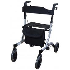 Deluxe Ultra Lightweight Folding 4 Wheeled Rollator - Grey