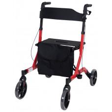 Deluxe Ultra Lightweight Folding 4 Wheeled Rollator - Red